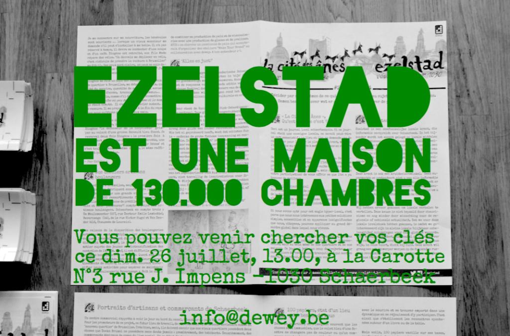 Ce dimanche, atélier rédactionnel dans les locaux de la Carotte (3, rue Josse Impens) : on discutera notamment des prochains articles d'Ezelstad. Tout le monde bienvenu. Réservation souhaitée : info@dewey.be